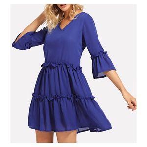 Blue V Neck Flounce Sleeve Frill Trim Shift Dress